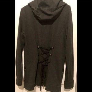 fitted hoodie w/ sexy back lace-up
